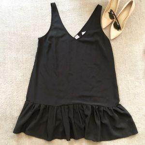 NWT Amanda Uprichard v-neck black ruffle dress